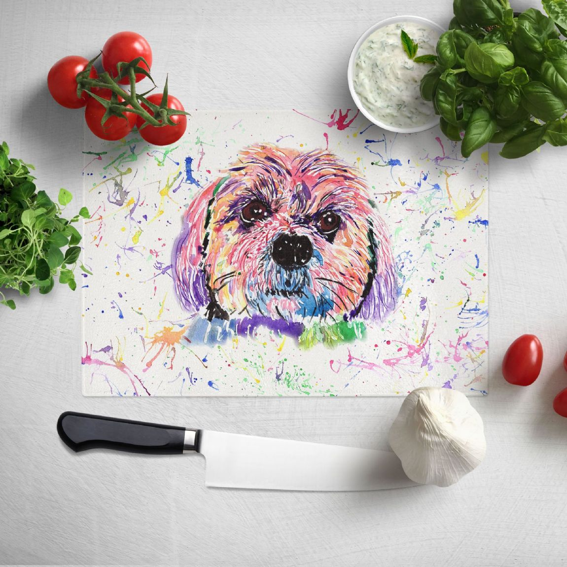 Glass worktop saver/chopping board (Lhaso Apso)